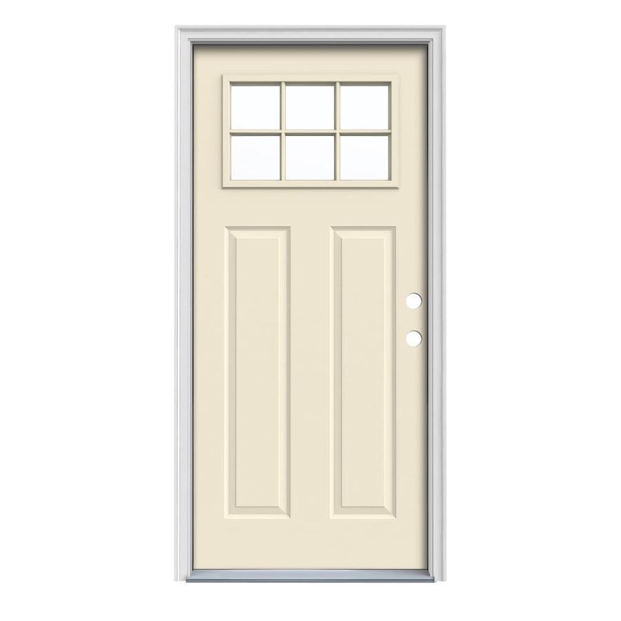 JELD-WEN Craftsman Insulating Core Craftsman 6-Lite Left-Hand Inswing Bisque Steel Painted Prehung Entry Door (Common: 32-in x 80-in; Actual: 33.5-in x 81.75-in)