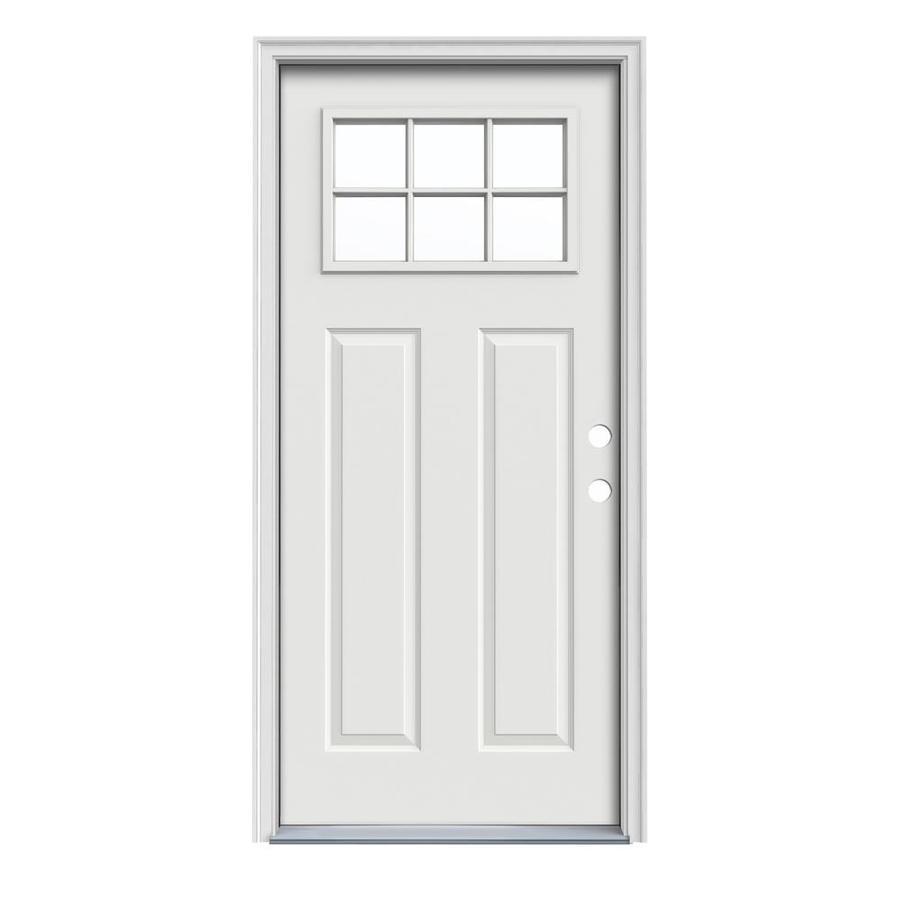 JELD-WEN Craftsman Insulating Core Craftsman 6-Lite Left-Hand Inswing Arctic White Steel Painted Prehung Entry Door (Common: 36-in x 80-in; Actual: 37.5-in x 81.75-in)