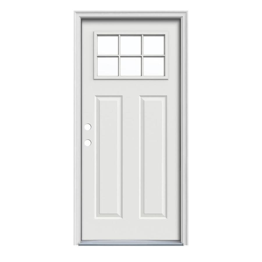 JELD-WEN Craftsman Insulating Core Craftsman 6-Lite Right-Hand Inswing Arctic White Steel Painted Prehung Entry Door (Common: 36-in x 80-in; Actual: 37.5-in x 81.75-in)