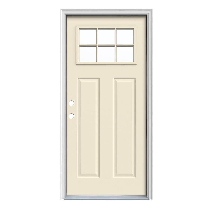 JELD-WEN Craftsman Insulating Core Craftsman 6-Lite Right-Hand Inswing Bisque Steel Painted Prehung Entry Door (Common: 36-in x 80-in; Actual: 37.5-in x 81.75-in)