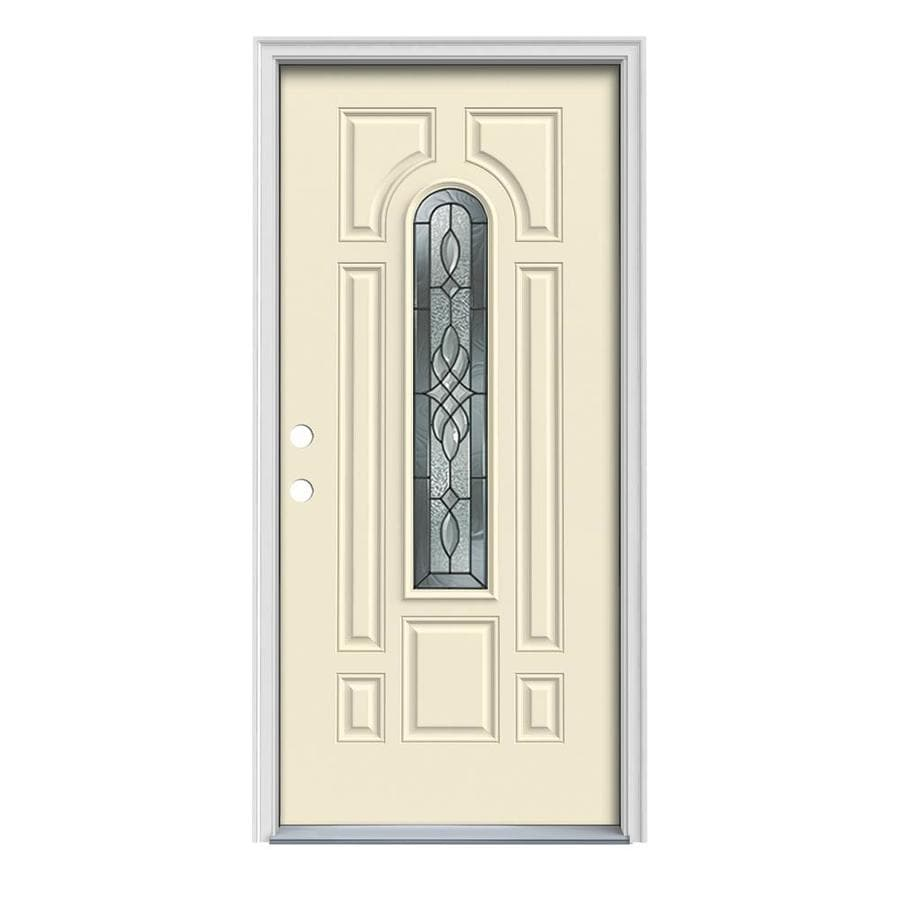 JELD-WEN Hampton 8-Panel Insulating Core Center Arch Lite Right-Hand Inswing Bisque Steel Painted Prehung Entry Door (Common: 36-in x 80-in; Actual: 37.5-in x 81.75-in)