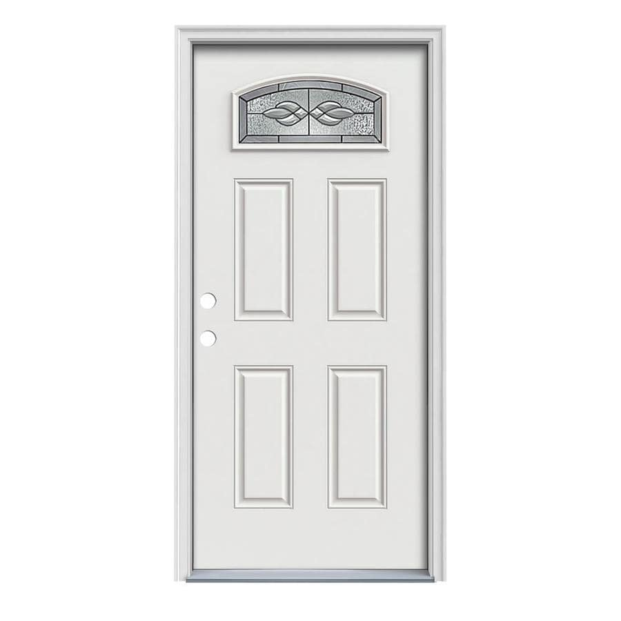 JELD-WEN Hampton 4-Panel Insulating Core Morelight Right-Hand Inswing Arctic White Steel Painted Prehung Entry Door (Common: 32-in x 80-in; Actual: 33.5-in x 81.75-in)