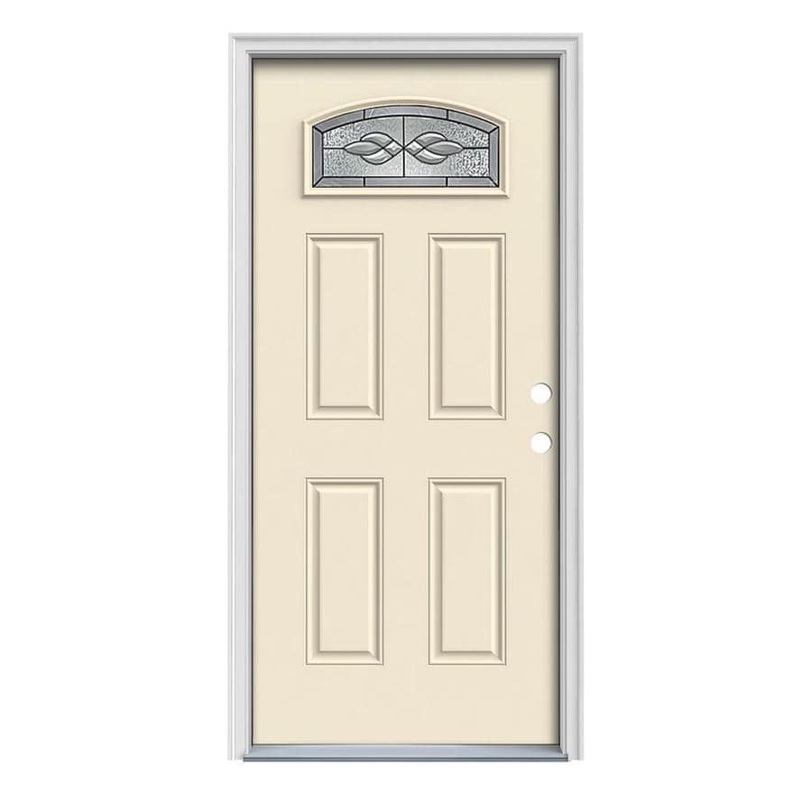 JELD-WEN Hampton 4-Panel Insulating Core Morelight Left-Hand Inswing Bisque Steel Painted Prehung Entry Door (Common: 32-in x 80-in; Actual: 33.5-in x 81.75-in)