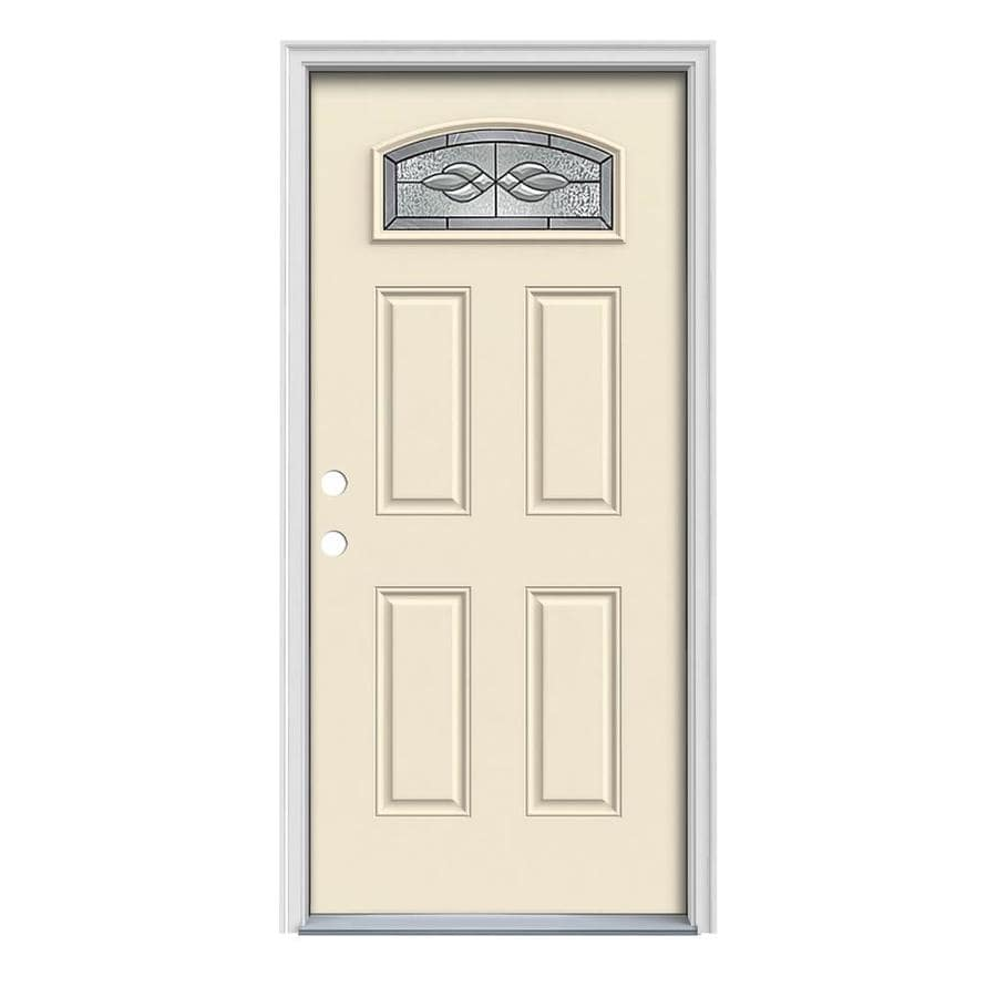 JELD-WEN Hampton 4-Panel Insulating Core Morelight Right-Hand Inswing Bisque Steel Painted Prehung Entry Door (Common: 36-in x 80-in; Actual: 37.5-in x 81.75-in)