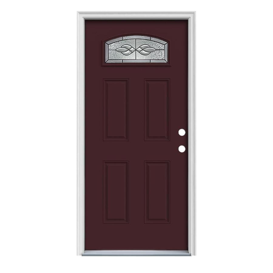 JELD-WEN Hampton 4-Panel Insulating Core Morelight Left-Hand Inswing Currant Steel Painted Prehung Entry Door (Common: 36-in x 80-in; Actual: 37.5-in x 81.75-in)