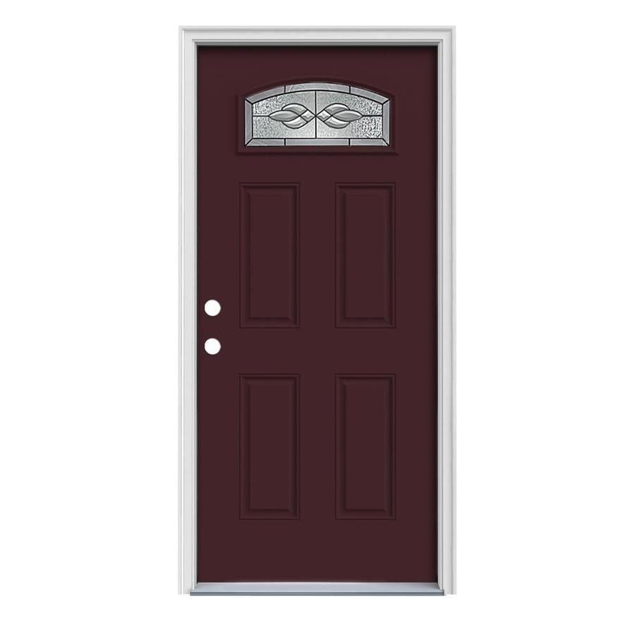 JELD-WEN Hampton 4-Panel Insulating Core Morelight Right-Hand Inswing Currant Steel Painted Prehung Entry Door (Common: 36-in x 80-in; Actual: 37.5-in x 81.75-in)