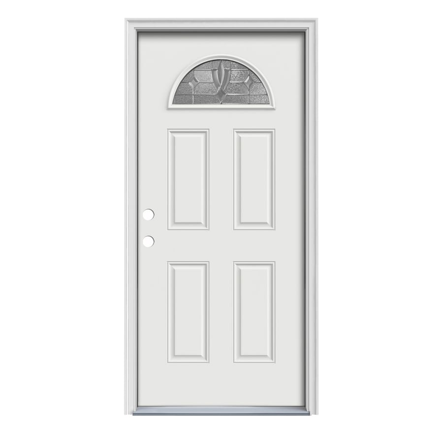 JELD-WEN Laurel 4-Panel Insulating Core Fan Lite Right-Hand Inswing Arctic White Steel Painted Prehung Entry Door (Common: 32-in x 80-in; Actual: 33.5-in x 81.75-in)