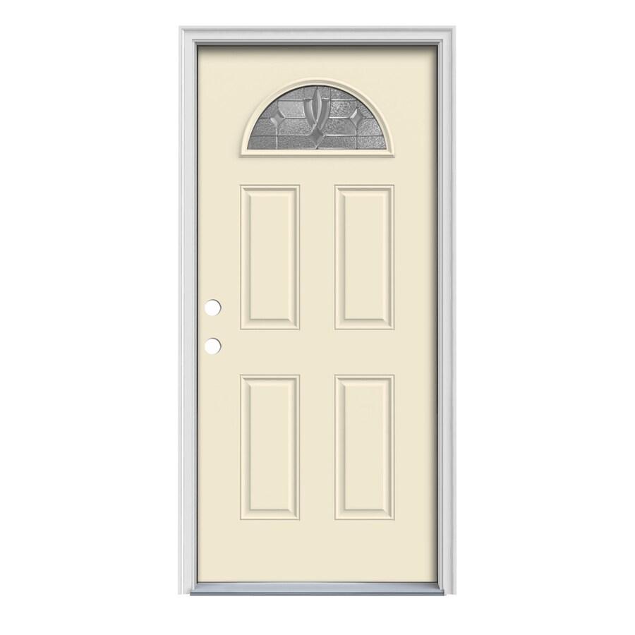 JELD-WEN Laurel 4-Panel Insulating Core Fan Lite Right-Hand Inswing Bisque Steel Painted Prehung Entry Door (Common: 32-in x 80-in; Actual: 33.5-in x 81.75-in)