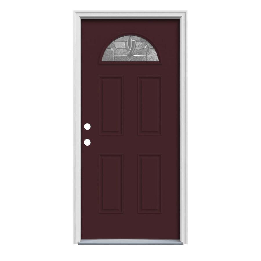 JELD-WEN Laurel 4-Panel Insulating Core Fan Lite Right-Hand Inswing Currant Steel Painted Prehung Entry Door (Common: 32-in x 80-in; Actual: 33.5-in x 81.75-in)