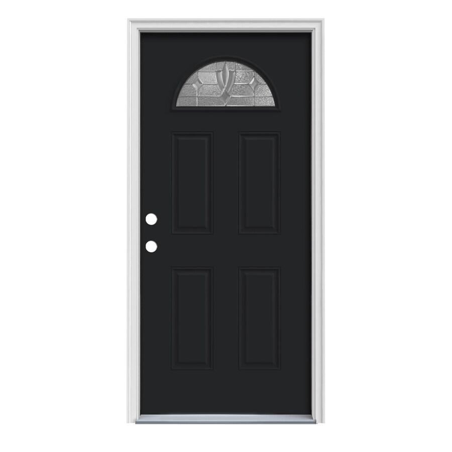 JELD-WEN Laurel 4-Panel Insulating Core Fan Lite Right-Hand Inswing Peppercorn Steel Painted Prehung Entry Door (Common: 32-in x 80-in; Actual: 33.5-in x 81.75-in)