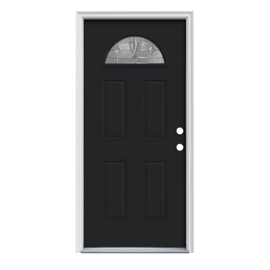 JELD-WEN Laurel 4-Panel Insulating Core Fan Lite Left-Hand Inswing Peppercorn Steel Painted Prehung Entry Door (Common: 32-in x 80-in; Actual: 33.5-in x 81.75-in)