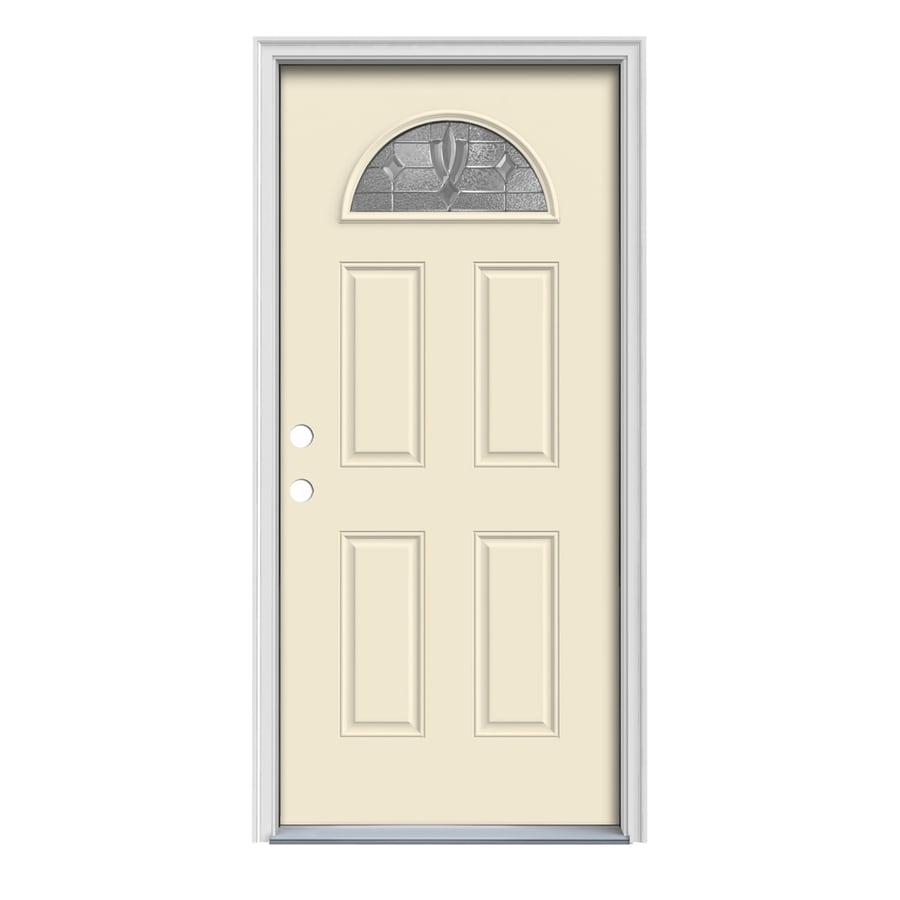 JELD-WEN Laurel 4-Panel Insulating Core Fan Lite Right-Hand Inswing Bisque Steel Painted Prehung Entry Door (Common: 36-in x 80-in; Actual: 37.5-in x 81.75-in)