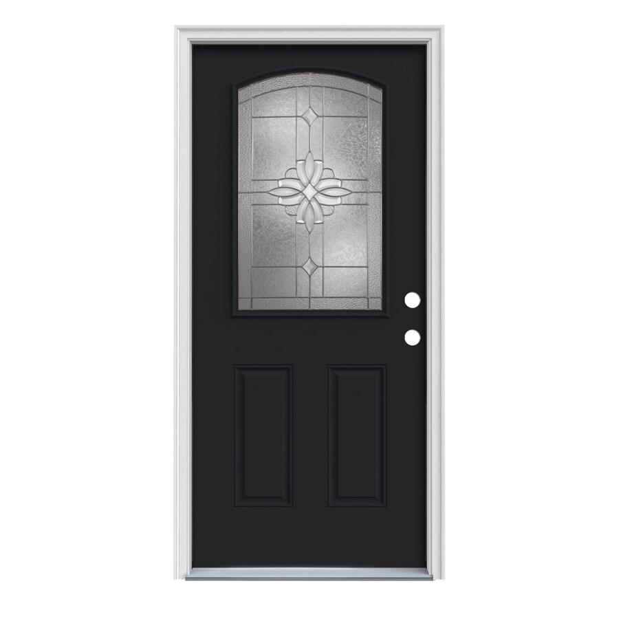 JELD-WEN Laurel 2-Panel Insulating Core Camber Top Half Lite Left-Hand Inswing Peppercorn Steel Painted Prehung Entry Door (Common: 32-in x 80-in; Actual: 33.5-in x 81.75-in)
