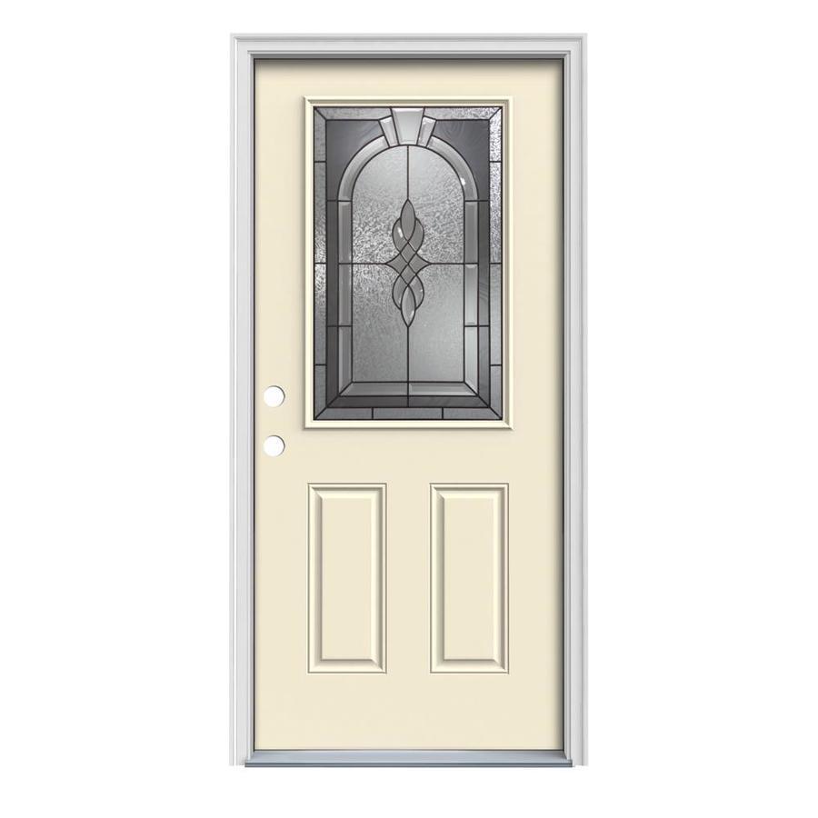 JELD-WEN Hampton 2-Panel Insulating Core Half Lite Right-Hand Inswing Bisque Steel Painted Prehung Entry Door (Common: 32-in x 80-in; Actual: 33.5-in x 81.75-in)