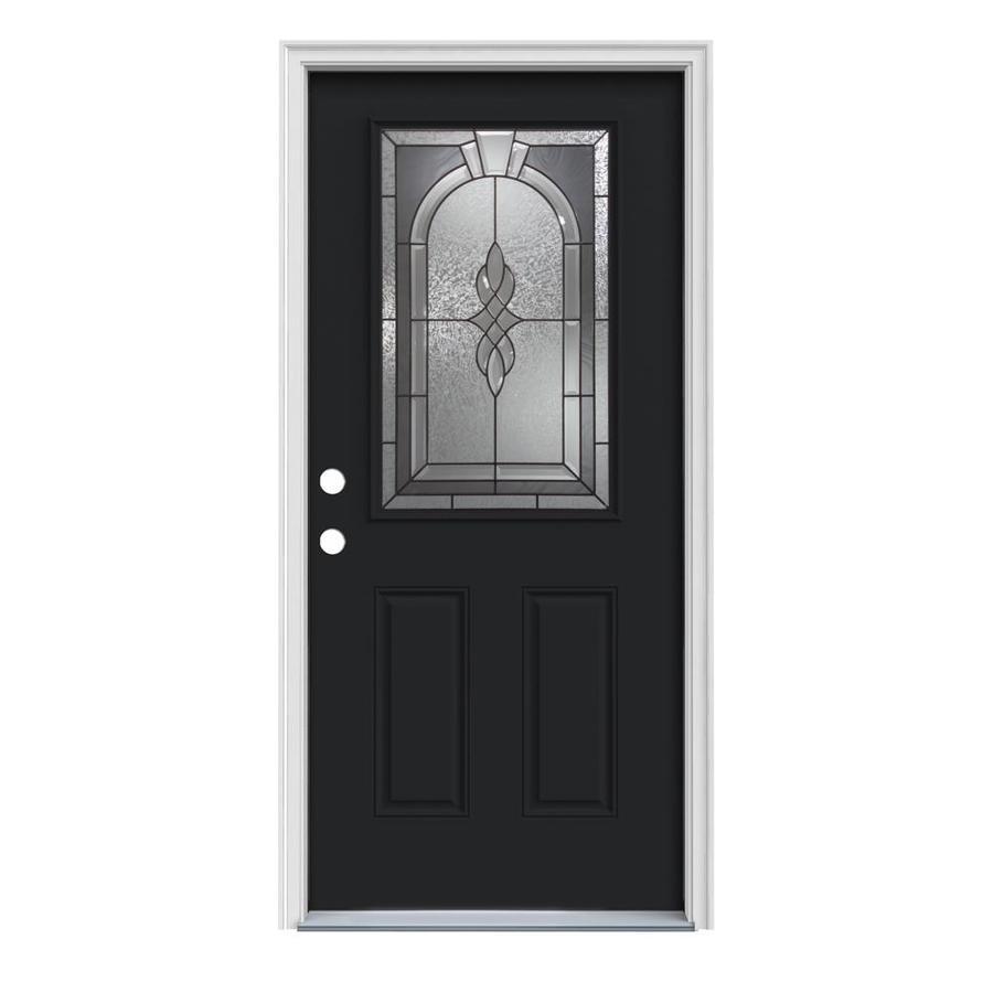 JELD-WEN Hampton 2-Panel Insulating Core Half Lite Right-Hand Inswing Peppercorn Steel Painted Prehung Entry Door (Common: 32-in x 80-in; Actual: 33.5-in x 81.75-in)
