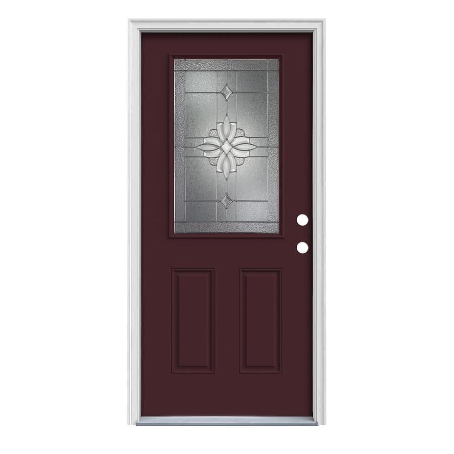 JELD-WEN Laurel 2-Panel Insulating Core Half Lite Left-Hand Inswing Currant Steel Painted Prehung Entry Door (Common: 32-in x 80-in; Actual: 33.5-in x 81.75-in)