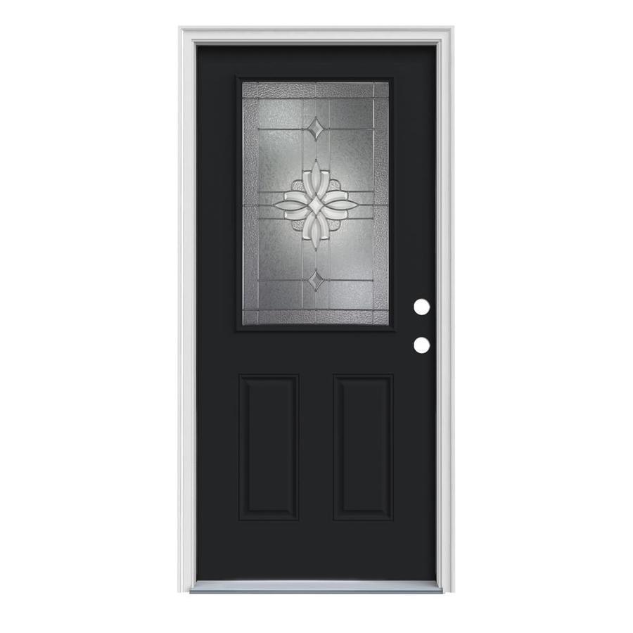JELD-WEN Laurel 2-Panel Insulating Core Half Lite Left-Hand Inswing Peppercorn Steel Painted Prehung Entry Door (Common: 36-in x 80-in; Actual: 37.5-in x 81.75-in)