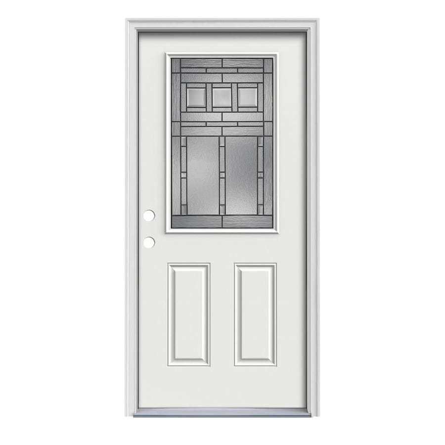 JELD-WEN Craftsman Glass 2-Panel Insulating Core Half Lite Right-Hand Inswing Arctic White Steel Painted Prehung Entry Door (Common: 32-in x 80-in; Actual: 33.5-in x 81.75-in)