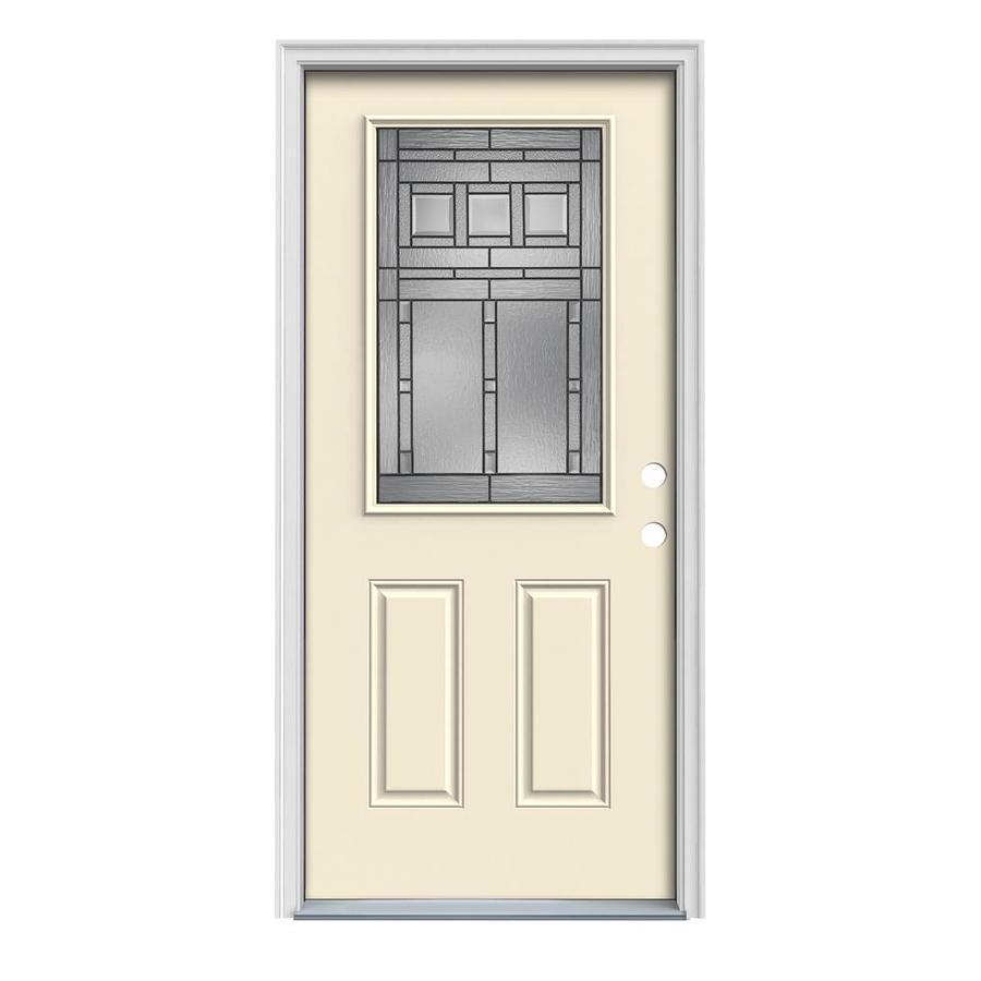 JELD-WEN Craftsman Glass 2-Panel Insulating Core Half Lite Left-Hand Inswing Bisque Steel Painted Prehung Entry Door (Common: 32-in x 80-in; Actual: 33.5-in x 81.75-in)