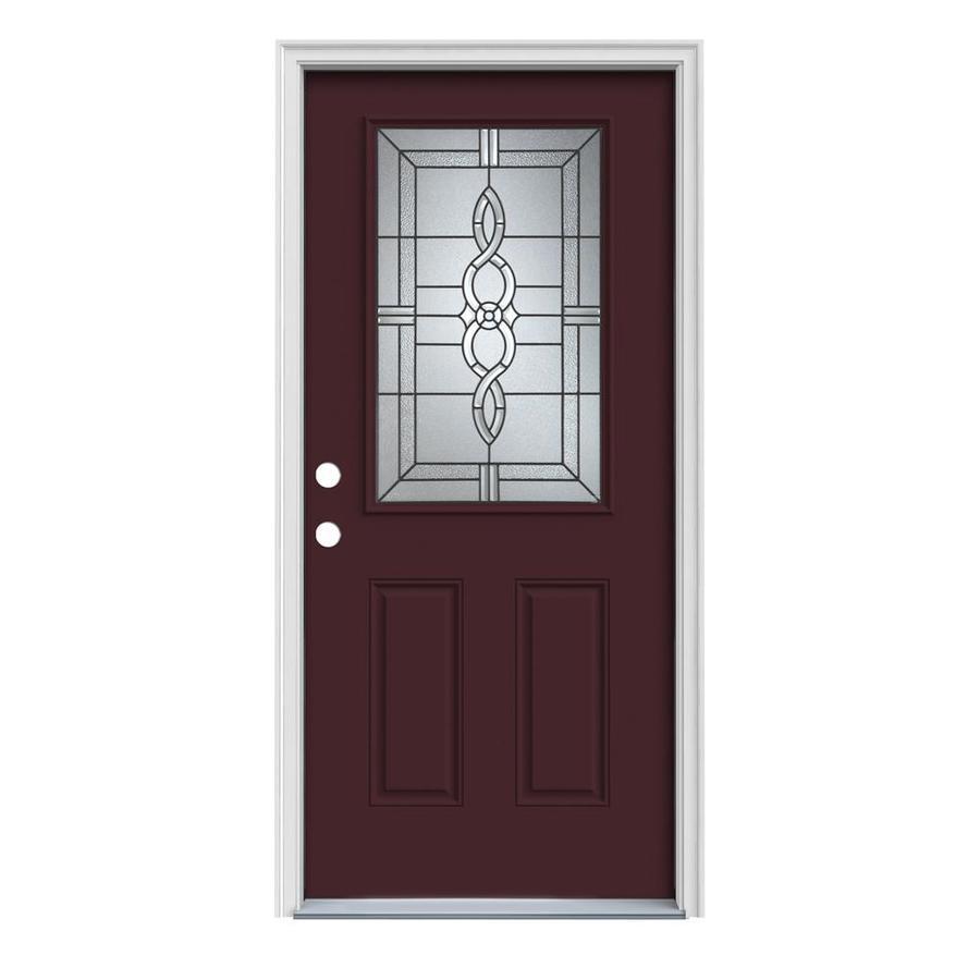 JELD-WEN Calista 2-Panel Insulating Core Half Lite Right-Hand Inswing Currant Steel Painted Prehung Entry Door (Common: 32-in x 80-in; Actual: 33.5-in x 81.75-in)