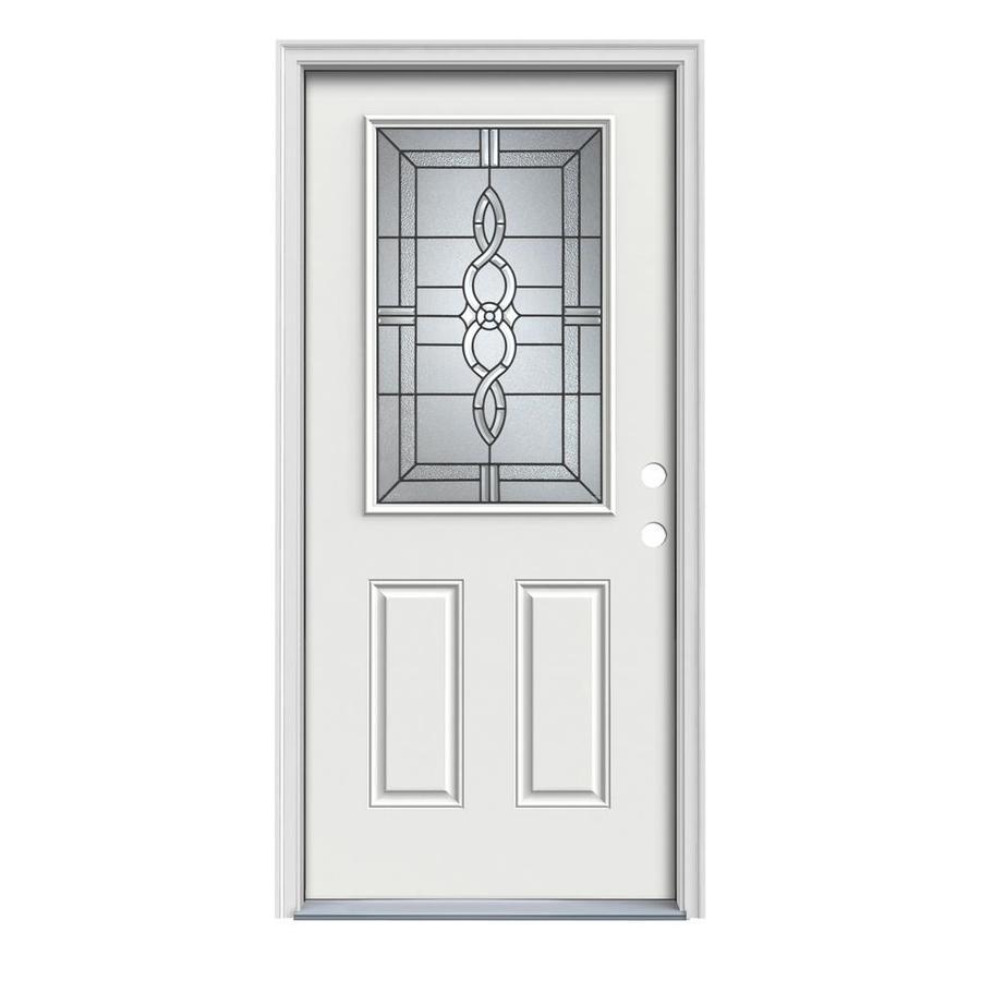 JELD-WEN Calista 2-Panel Insulating Core Half Lite Left-Hand Inswing Arctic White Steel Painted Prehung Entry Door (Common: 36-in x 80-in; Actual: 37.5-in x 81.75-in)