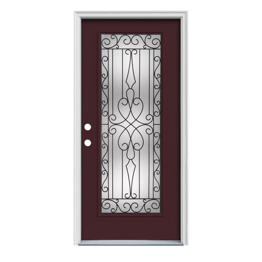 JELD-WEN Wyngate 1-Panel Insulating Core Full Lite Right-Hand Inswing Currant Steel Painted Prehung Entry Door (Common: 32-in x 80-in; Actual: 33.5-in x 81.75-in)