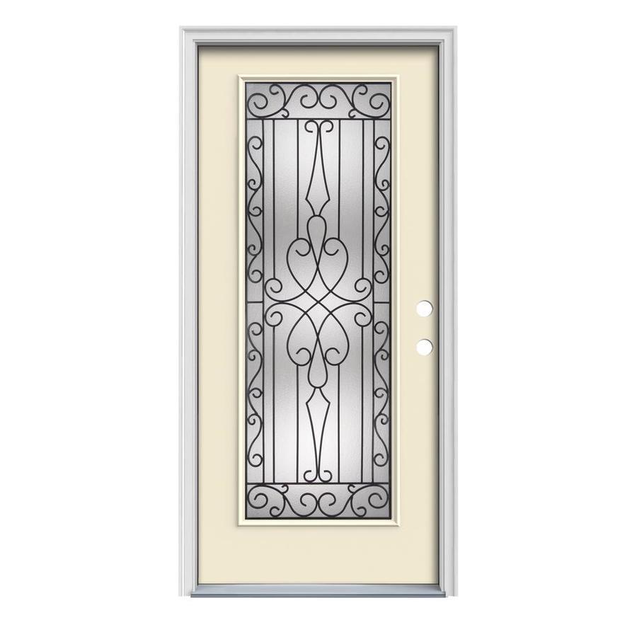 JELD-WEN Wyngate 1-Panel Insulating Core Full Lite Left-Hand Inswing Bisque Steel Painted Prehung Entry Door (Common: 36-in x 80-in; Actual: 37.5-in x 81.75-in)