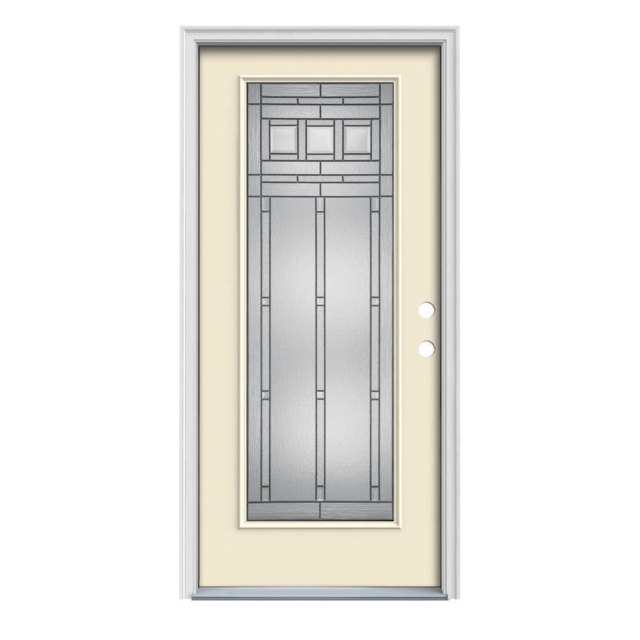 JELD-WEN Craftsman Glass 1-Panel Insulating Core Full Lite Left-Hand Inswing Bisque Steel Painted Prehung Entry Door (Common: 36-in x 80-in; Actual: 37.5-in x 81.75-in)