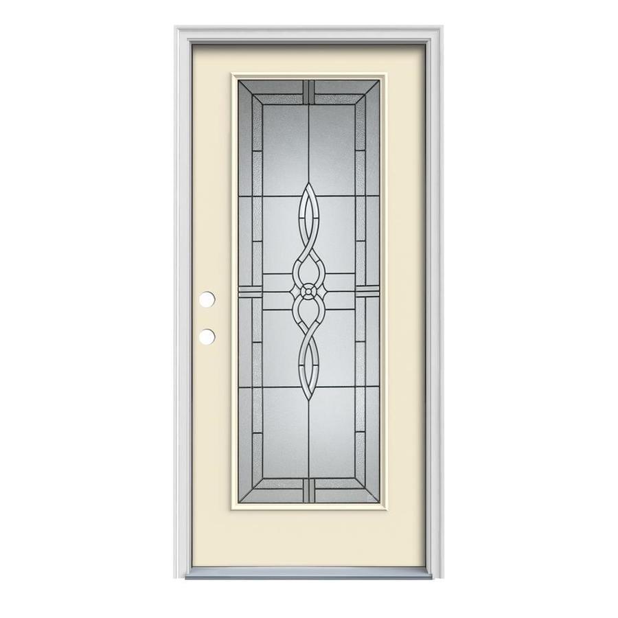 JELD-WEN Calista 1-Panel Insulating Core Full Lite Right-Hand Inswing Bisque Steel Painted Prehung Entry Door (Common: 32-in x 80-in; Actual: 33.5-in x 81.75-in)
