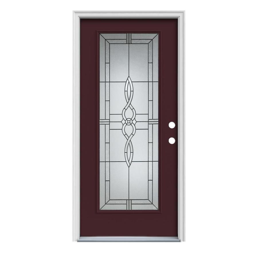 JELD-WEN Calista 1-Panel Insulating Core Full Lite Left-Hand Inswing Currant Steel Painted Prehung Entry Door (Common: 36-in x 80-in; Actual: 37.5-in x 81.75-in)