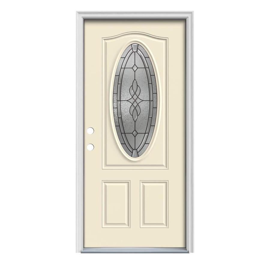 JELD-WEN Hampton 2-Panel Insulating Core Oval Lite Right-Hand Inswing Bisque Steel Painted Prehung Entry Door (Common: 32-in x 80-in; Actual: 33.5-in x 81.75-in)