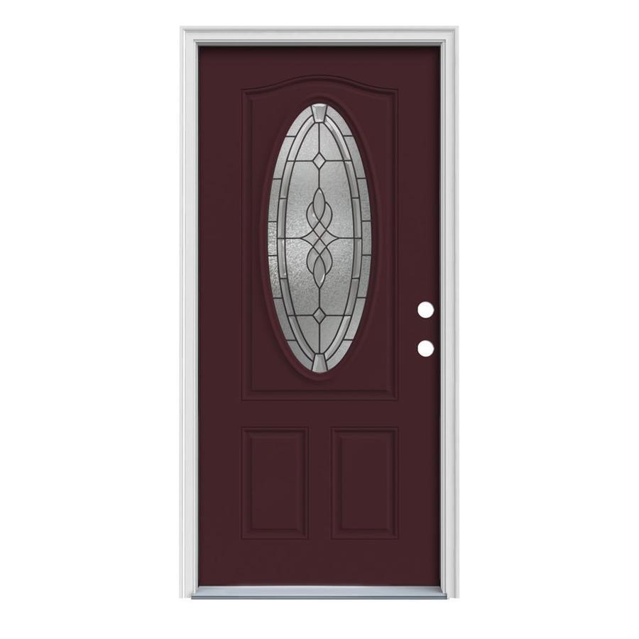 JELD-WEN Hampton 2-Panel Insulating Core Oval Lite Left-Hand Inswing Currant Steel Painted Prehung Entry Door (Common: 32-in x 80-in; Actual: 33.5-in x 81.75-in)