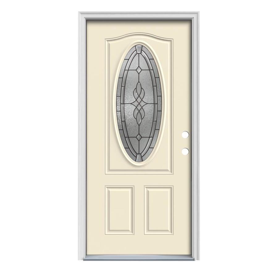 JELD-WEN Hampton 2-Panel Insulating Core Oval Lite Left-Hand Inswing Bisque Steel Painted Prehung Entry Door (Common: 36-in x 80-in; Actual: 37.5-in x 81.75-in)