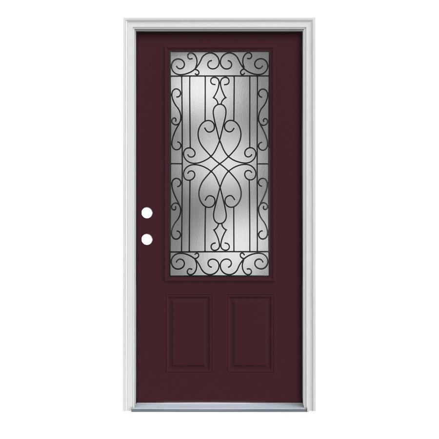 JELD-WEN Wyngate 2-Panel Insulating Core 3/4 Lite Right-Hand Inswing Currant Steel Painted Prehung Entry Door (Common: 32-in x 80-in; Actual: 33.5-in x 81.75-in)