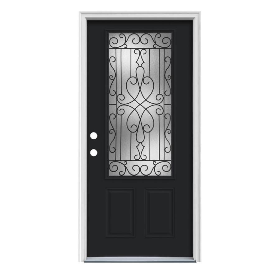 JELD-WEN Wyngate 2-Panel Insulating Core 3/4 Lite Right-Hand Inswing Peppercorn Steel Painted Prehung Entry Door (Common: 32-in x 80-in; Actual: 33.5-in x 81.75-in)