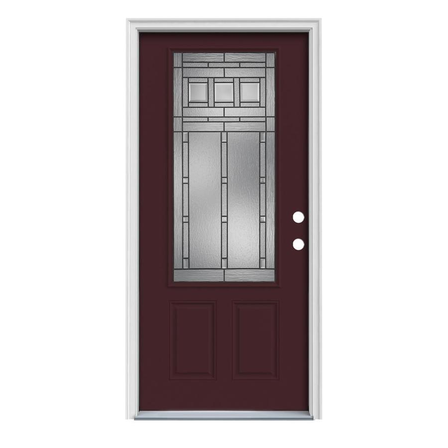 JELD-WEN Craftsman Glass 2-Panel Insulating Core 3/4 Lite Left-Hand Inswing Currant Steel Painted Prehung Entry Door (Common: 32-in x 80-in; Actual: 33.5-in x 81.75-in)