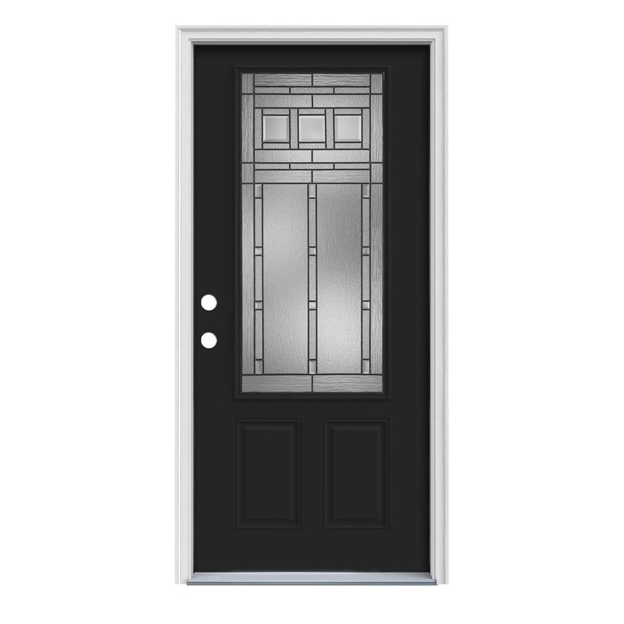 JELD-WEN Craftsman Glass 2-Panel Insulating Core 3/4 Lite Right-Hand Inswing Peppercorn Steel Painted Prehung Entry Door (Common: 36-in x 80-in; Actual: 37.5-in x 81.75-in)
