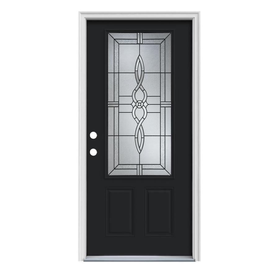 JELD-WEN Calista 2-Panel Insulating Core 3/4 Lite Right-Hand Inswing Peppercorn Steel Painted Prehung Entry Door (Common: 32-in x 80-in; Actual: 33.5-in x 81.75-in)