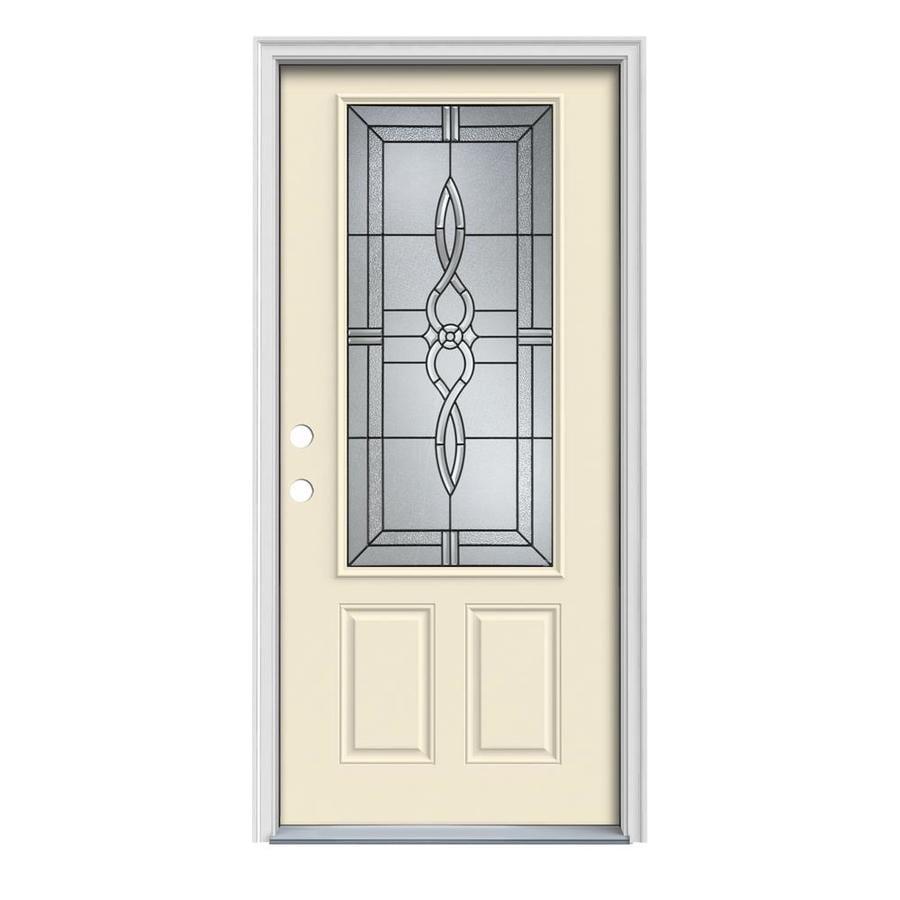 JELD-WEN Calista 2-Panel Insulating Core 3/4 Lite Right-Hand Inswing Bisque Steel Painted Prehung Entry Door (Common: 36-in x 80-in; Actual: 37.5-in x 81.75-in)
