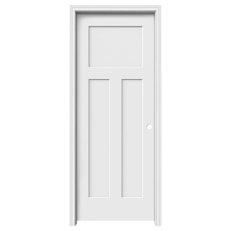 ReliaBilt (Primed) Prehung Hollow Core 3-Panel Craftsman Interior Door (Common: 32-in x 80-in; Actual: 33.562-in x 81.688-in)