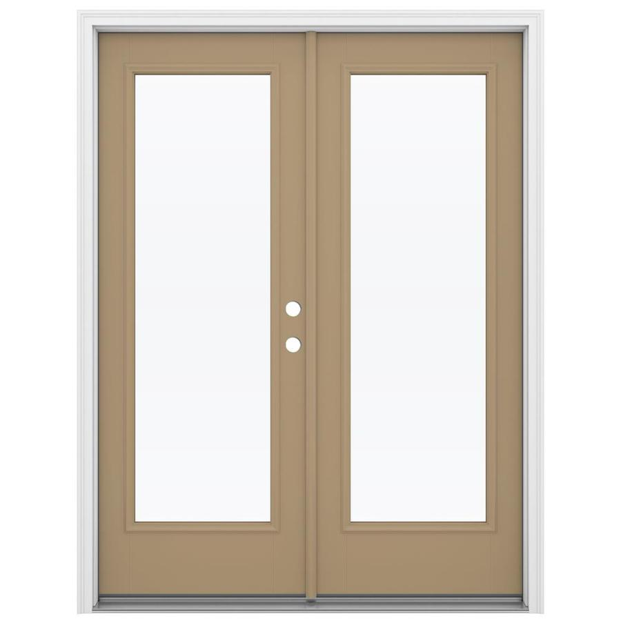 ReliaBilt 59.5-in 1-Lite Glass Warm Wheat Fiberglass French Inswing Patio Door