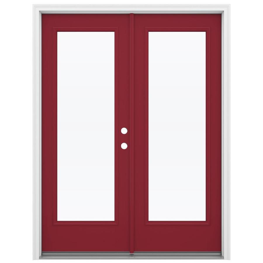 ReliaBilt 59.5-in 1-Lite Glass Roma Red Fiberglass French Inswing Patio Door