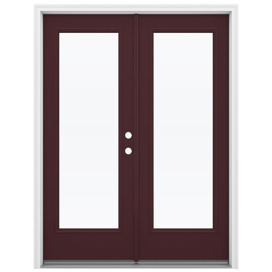 ReliaBilt 59.5-in 1-Lite Glass Currant Fiberglass French Inswing Patio Door