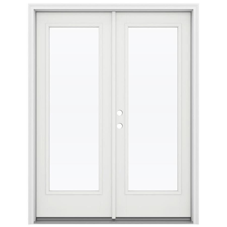 ReliaBilt 59.5-in 1-Lite Glass Arctic White Fiberglass French Inswing Patio Door