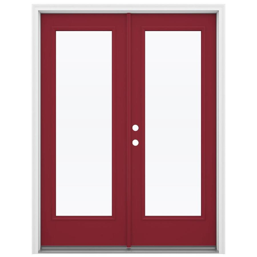 ReliaBilt 59.5-in 1-Lite Glass Roma Red Fiberglass French Inswing Patio Door