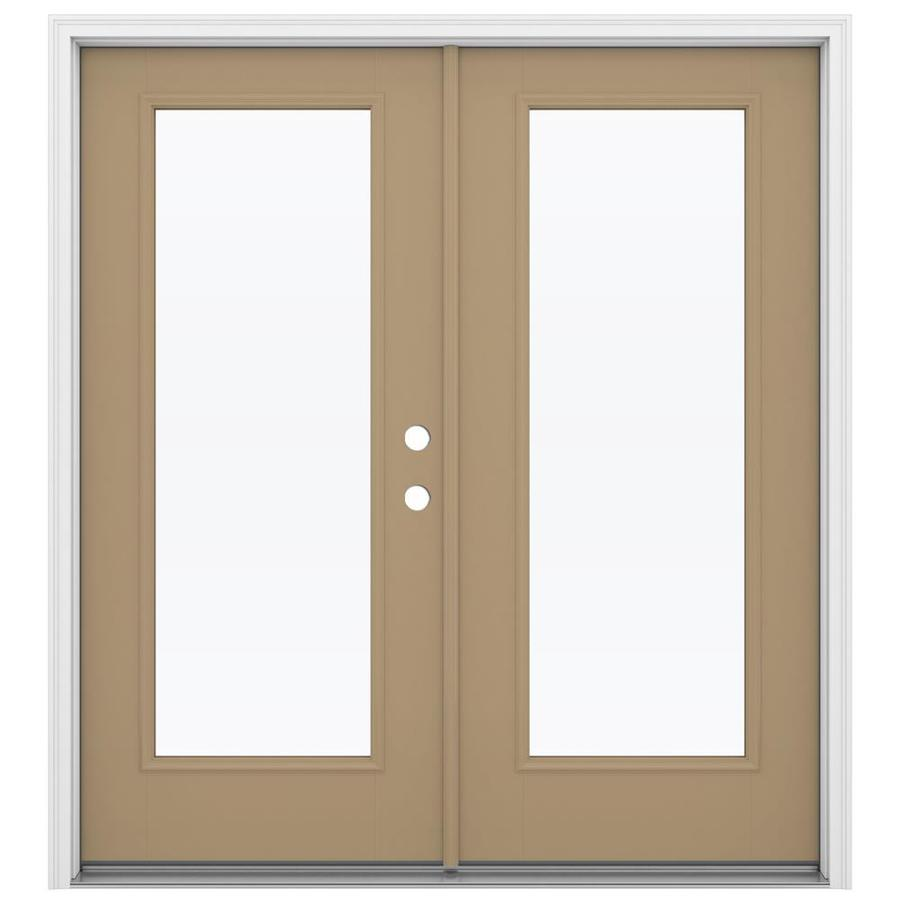 ReliaBilt 71.5-in 1-Lite Glass Warm Wheat Fiberglass French Inswing Patio Door