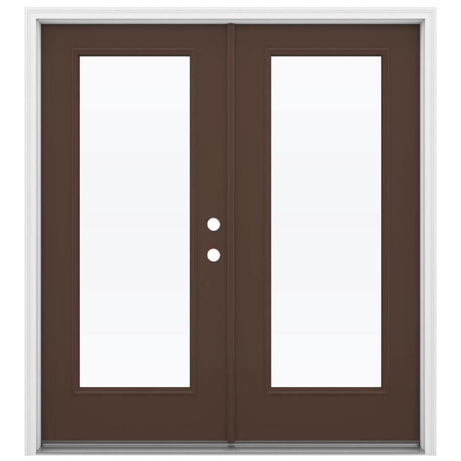 ReliaBilt 71.5-in 1-Lite Glass Chococate Fiberglass French Inswing Patio Door