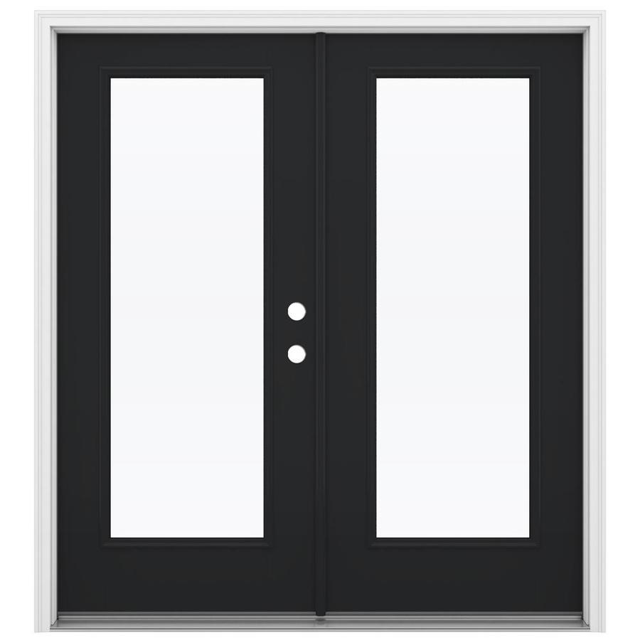 ReliaBilt 71.5-in 1-Lite Glass Peppercorn Fiberglass French Inswing Patio Door