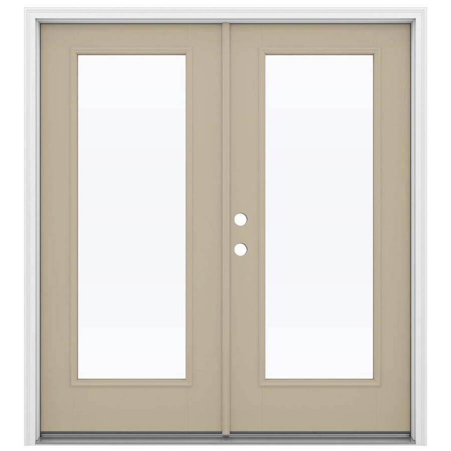 Shop reliabilt 71 5 in 1 lite glass sandy shore fiberglass for Fiberglass french doors