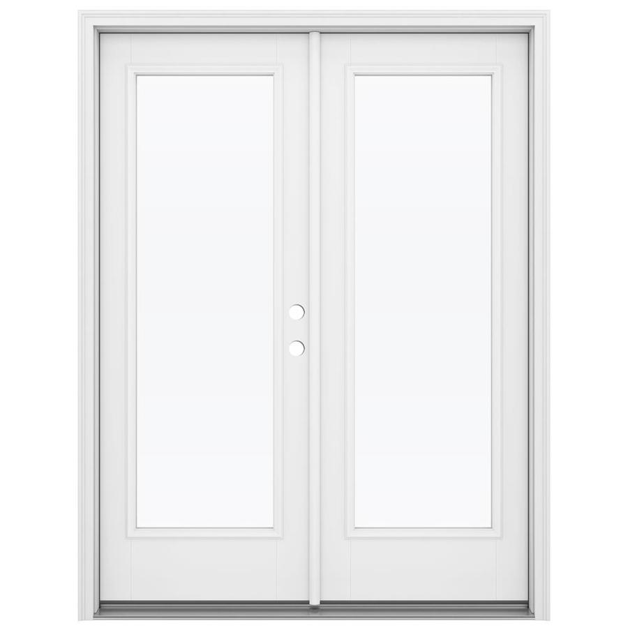 ReliaBilt 59.5-in 1-Lite Glass Primed Fiberglass French Outswing Patio Door